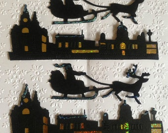 2 Large Handmade Black Sillhouette Black Skylines & Santa Sleighs for Christmas Cards Card making Scrapbooking Craft project Crafting