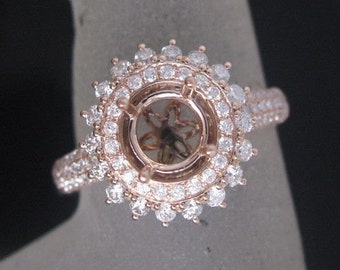Double Halo Diamond Semi Mount, Full Cut Diamond Engagement Ring