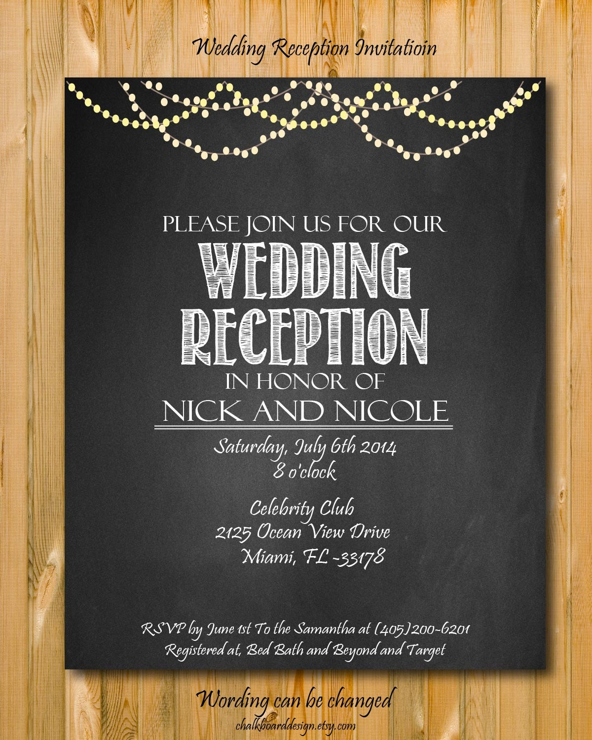 Printable Wedding Reception Invitation Wedding By