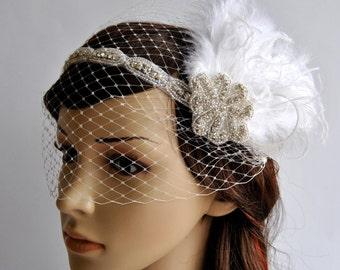 Rhinestone crystal headband headpiece, Bridal Feather Fascinator, 1920s Headpiece Bridal fascinator headband Wedding bandeau Veil