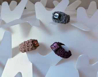 crochet rings with swarovski button, textile jewelry, viscose and crystal
