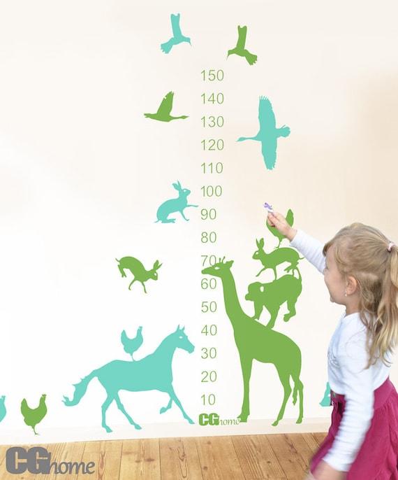 ANIMALS growth chart WALL DECAL vinyl for children sticker