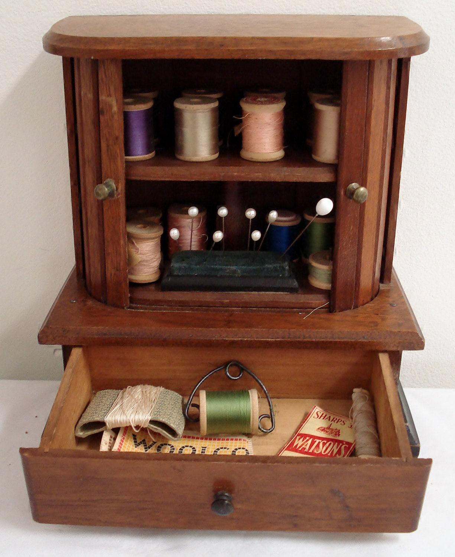 19th C Antique Sewing Cabinet Spool Thread Holder Tambour