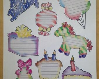 8.5x11 Adhesive Birthday Journaling Die Cuts