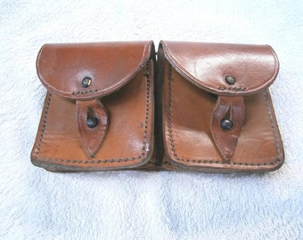 Vintage 1947 French army leather ammo double belt pouch military ammunition