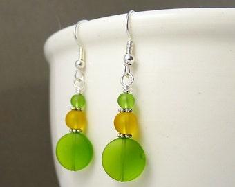 Green sea glass earrings frosted glass earrings beaded jewelry handmade earrings seaglass earrings seaglass jewelry beach glass jewelry