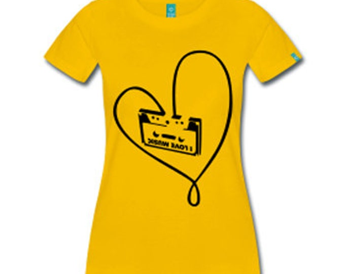 Classic Cassette Tape Love Retro Women's Fitted T-Shirt - Yellow