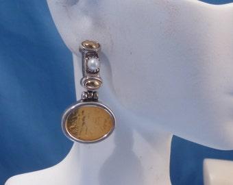 Vintage Sterling 18k Intaglio Pearl Earrings.