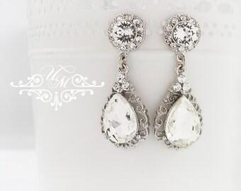 Wedding Jewelry Wedding Earrings Bridal Earrings Bridesmaids Earrings Swarovski Crystal earrings Dangle Teardrop earrings studs - ORLA TECA