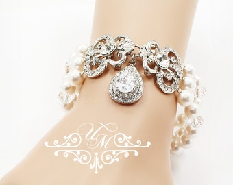 Wedding Jewelry Triple Strands Swarovski Pearl Bracelet Pearl Rhinestone Teardrop Bracelet Bridal Jewelry Bridesmaids jewelry - JANICE