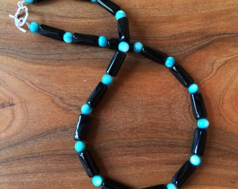 Dramatic Black and Turquoise Necklace