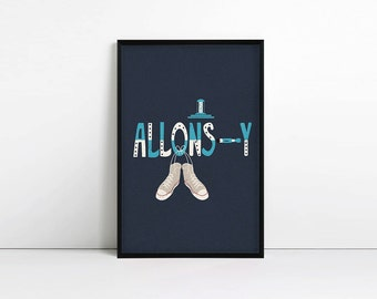 Allons-y, Tenth Doctor, Doctor Who, Converse, Minimalist, Poster, Print, 10, Whovian, Gift, Geek
