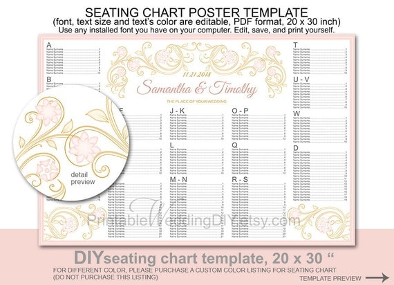 Wedding seating chart poster template printable diy reception for Free printable wedding seating chart template