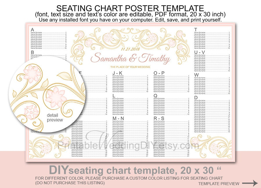 wedding seating chart poster template printable diy reception
