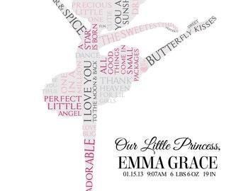 Personalized Ballerina Word Art (baby/toddler)  * * Digital Image * * DIY Printable * *