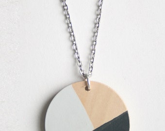 Grey Geometric Painted Wood Necklace, No.2