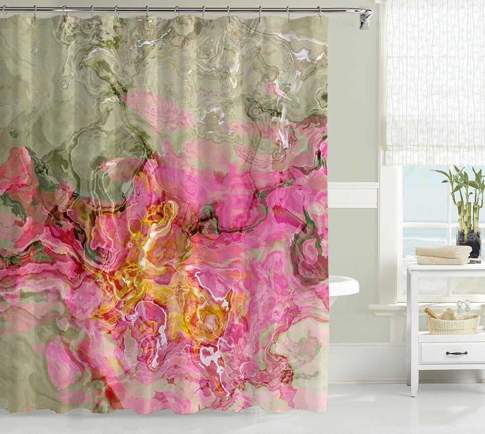 contemporary shower curtain abstract art bathroom decor. Black Bedroom Furniture Sets. Home Design Ideas