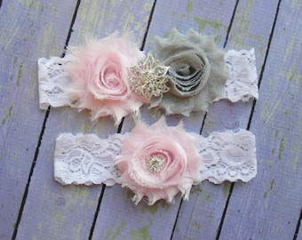 Pale Pink & Grey Garter, Silver Garter, Pink Wedding Garter, Bridal Garter Set, Baby Pink Wedding, Gray Wedding, Leg Garter, Crystal Garter