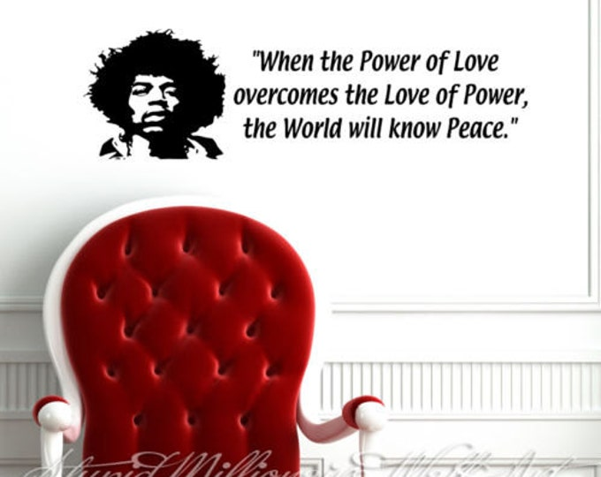 Jimi Hendrix Peace love power of love Wall Decal Vinyl sticker home decor famous quotes and phrases wall saying rasta reggae music happiness