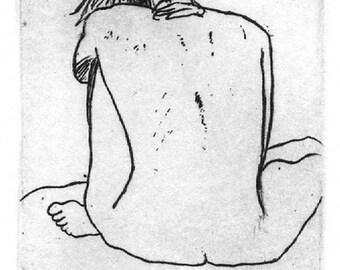 Seated Figure - Original Intaglio Etching & Engraving, Hand-printed original print