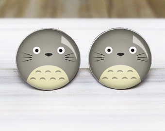 Totoro Earrings - Anime Studio Ghibli Silver Studs - Hypoallergenic Nickel Free Earrings