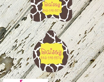 Personalized Pet Tag - Bone or Round Shape - Brown Giraffe, Monogram Pet Tag, Cat Tag, Dog Tag, Aluminum light weight, Made in USA