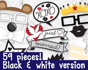 Wedding Photo booth Props - PRINTABLE - 59 piece - Instant Download, Print, Party - Wedding Engagement Party Photobooth Paper Props Diy