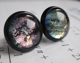 Peter Higgs - Earring studs - science jewelry - science earrings - galaxy jewelry - physics earrings - fake plugs - plug earring - nebula