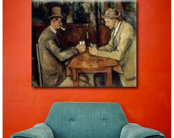 "30% OFF! Canvas Print "" Card Players"" By Paul Cezanne Repro print wall art poster fine art Artwork photo Giclee decor reproduction"