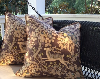 Lee Jofa Pillow Cover in Mille Fleur Stags and Hounds Linen, Coordinating velvet back