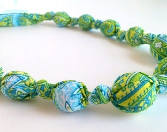 Lime Green, Yellow, and Aqua Blue Beaded Nursing Necklace, Fabric Necklace, Statement Necklace, Teething Necklace