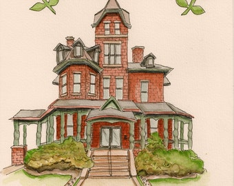 Whimsical Pen and Watercolor Custom Home or House Portrait