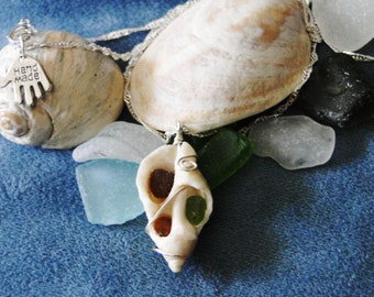 Beautiful Open Seashell Pendant w/ Sea Glass Accents and Silver Chain