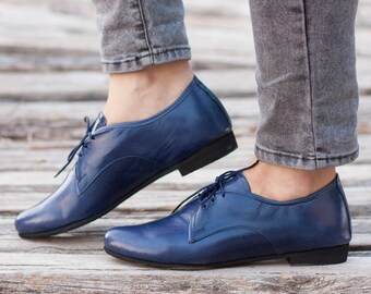 Leather Women Shoes, Blue Oxford Shoes, Close Shoes, Flats , Free Shipping