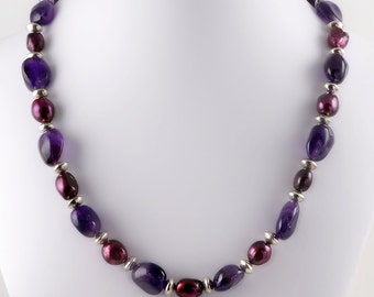 Sterling Silver Amethyst & Cranberry Pearl Beaded Necklace