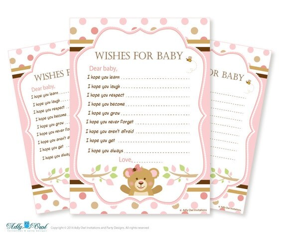 for a baby shower well wishes pink brown baby teddy bear shower
