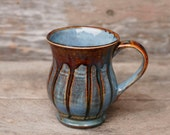Blue Rust Drip One 12 oz Mug - Etched Stripes - Green Brown Tan Red - Natural Patina High Fire Stoneware - Hand Painted - Ready To Ship