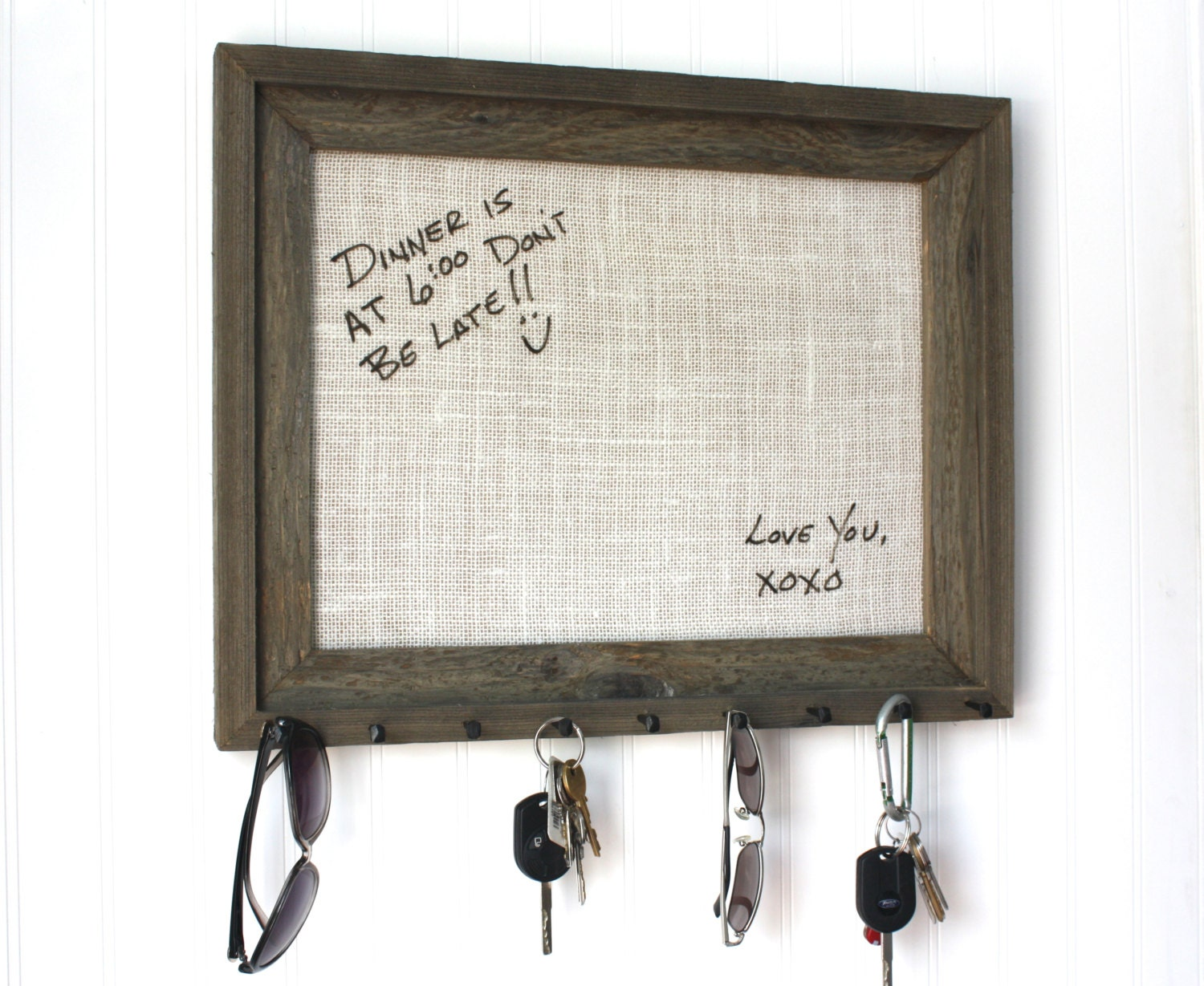 Home decor Key Holder Barnwood Dry Erase Board by HudsonLace