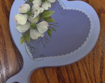 Spring Dogwood painted on a heart shaped hand-mirror