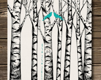 Personalized Wedding Anniversary Gift, Love birds in the Forest Birch trees, Love heart with initials 8,5 x11