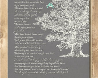 """Personalized Wedding Gift Love Birds Tree, Engagement gift, anniversary Gift for Couples Poster  8'5 x 11"""""""