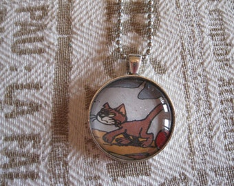 """Old Papers - """"Azrael"""" glass cabochon necklace - upcycled gift idea"""