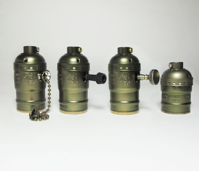 Dark gold Aluminium Lamp Socket - E27 - DIY vintage style edison light socket...