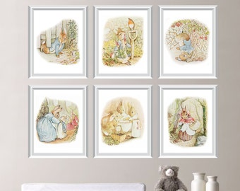 Peter Rabbit Nursery Decor. Baby Nursery Print Art. Peter Rabbit Nursery Art. Beatrix Potter Art. Peter Rabbit Bedroom Art. Canvas. (NS-669)
