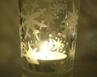 2 Snowflake Pattern Hand-Painted Glass Tea Light or Votive Candle Holders