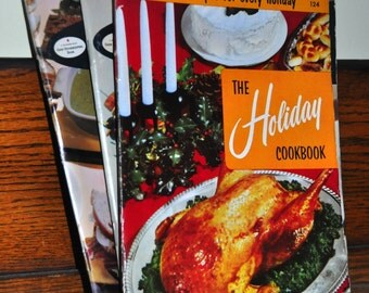 """Vintage Recipe Booklet. """"The Holiday Cookbook: 220 Festive Recipes for Every Holiday. 1950s Cookbook. Vintage Recipe Booklets. Old Cookbooks"""