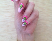 Ombre Ganja Nails, 80s Weed press on nails,