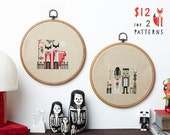 Spooky Halloween cross stitch pattern PDF download - two designs - both  includes colour chart and instructions