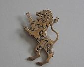 Lion Brooch or Pendant in Bronze