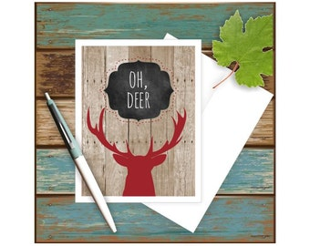 Oh Deer Get Well Card, Thinking of You, Encouragement Card, Pun Card, Get Well Wishes, Card for Him, Card for Friend